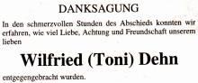 Wilfried Dehn Toni Danksagung