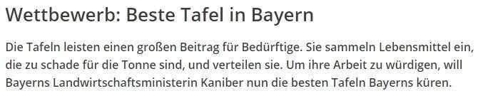 Wettbewerb der Tafeln Bayern